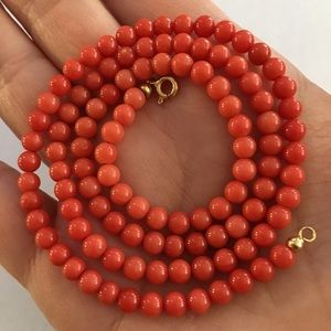 Mediterranean red coral bead 18K solid necklace